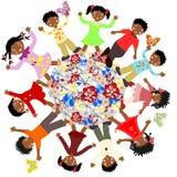 Flores africanos felices de los niños en todo el mundo Fotografía de archivo libre de regalías