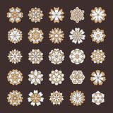 Flores ajustadas, cor da garatuja do ouro branco Elementos bonitos do design floral para o cartão de casamento Contexto de Zentan Foto de Stock Royalty Free