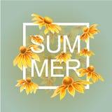 Flores alaranjadas e amarelas com elementos florais das folhas verdes ilustração royalty free