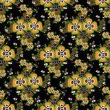 Flores alaranjadas em um teste padrão sem emenda do fundo preto Fotografia de Stock Royalty Free