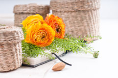 Flores amarelas, cestas de vime e um caderno Imagem de Stock Royalty Free