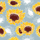 Flores amarelas decorativas dos girassóis ilustração stock