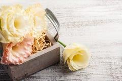 Flores amarelas do eustoma e caixa de madeira Fotos de Stock Royalty Free