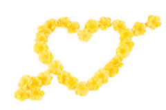 Flores amarelas no formulário do coração Fotos de Stock