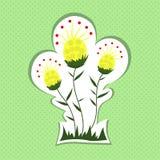 Flores amarelas no fundo verde Imagens de Stock