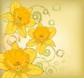 Flores amarillas con diseños del ornamento Foto de archivo libre de regalías