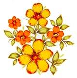 Flores amarillas de pintura Imágenes de archivo libres de regalías