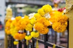 Flores amarillas y blancas frescas que cuelgan en la casa de las bebidas espirituosas Imagen de archivo