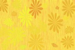 Flores amarillas y marrones retras en un fondo del amarillo anaranjado Fotos de archivo