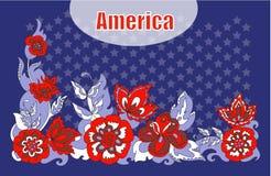 Flores americanas del ornamento del simbolismo Imagen de archivo