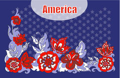 Flores americanas do ornamento do simbolismo Imagem de Stock