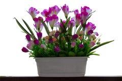 Flores artificiais em um fundo branco foto de stock