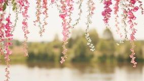 Flores artificiales contra el contexto del río Las flores delicadas cuelgan abajo metrajes