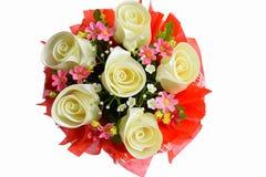 Flores artificiales hechas del paño en el fondo blanco Foto de archivo libre de regalías