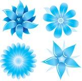 Flores azuis ajustadas Ilustração do Vetor
