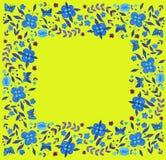 Flores azuis da aquarela, quadro no fundo amarelo ilustração stock