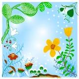 Flores azuis do fundo do cartão Fotografia de Stock Royalty Free