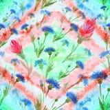 Flores azuis e vermelhas no fundo da aquarela Pintura da aguarela wallpaper Teste padrão sem emenda Use materiais impressos, si ilustração stock