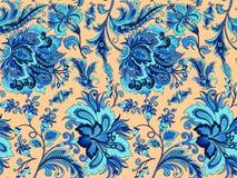 Flores azuis sem emenda em um fundo do ouro Fotos de Stock Royalty Free