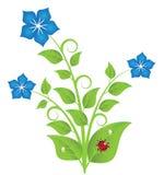 Flores azules con las hojas y los remolinos stock de ilustración