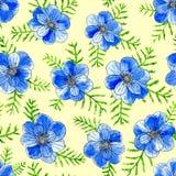 Flores azules de la acuarela con las hojas aisladas en fondo amarillo Ejemplo pintado a mano del bosquejo ilustración del vector