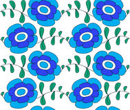 Flores azules en un fondo blanco, ilustración a ilustración del vector