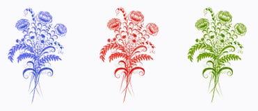 Flores azules, rojas y verdes en el fondo blanco ilustración del vector