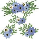 Flores azules y blancas con arreglos florales del verdor ilustración del vector