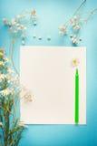 Flores bastante blancas en el papel en blanco con la pluma para saludar, la nota, la lista o dibujar en fondo azul Fotos de archivo