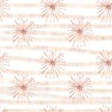 Flores bege surreais do guache sem emenda do teste padrão com listras do ouro ilustração royalty free