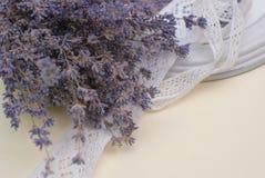 Flores blancas de la lavanda vistas cerca para arriba Foto de archivo