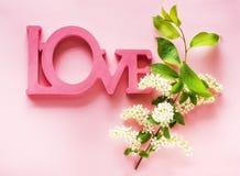 Flores blancas de la primavera y amor en un fondo rosado, visi?n superior de la palabra imagen de archivo libre de regalías