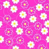 Flores blancas esquemáticas simples en un fondo rosado Costura floral Imagenes de archivo