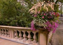Flores blancas y violetas en esquina del pasamano Imagen de archivo
