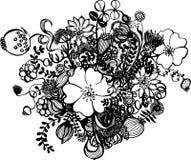 Flores blancos y negros aisladas en blanco Foto de archivo libre de regalías