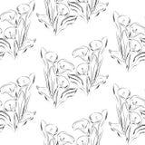 Flores blancos y negros de las calas del modelo inconsútil Imagen de archivo libre de regalías
