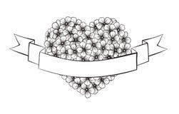 Flores blancos y negros del esquema en forma del corazón. Con la cinta festiva para imprimir saludos Imagenes de archivo