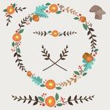Flores bolota e grupo de Forest Illustrated Wreath Design Elements das folhas fotos de stock royalty free