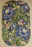Flores bonitas azuis do teste padrão original de matéria têxtil no estilo do art nouveau Guache pintado à mão do vintage do esboç Imagem de Stock Royalty Free