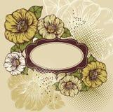 Flores bonitas com um frame do vintage ilustração royalty free