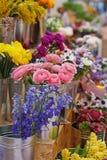 Flores bonitas diferentes em uns vasos do metal fotografia de stock royalty free
