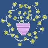 Flores bonitas em uns potenciômetros, ilustração do vetor Foto de Stock