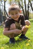 Flores bonitos da colheita do menino Imagens de Stock