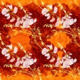Flores, botões, ramos da ervilha doce Composição decorativa em um fundo da aquarela watercolor Motivos florais Patte sem emenda Foto de Stock