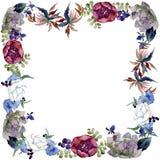 Flores bot?nicas florais do ramalhete Grupo da ilustra??o do fundo da aquarela Quadrado do ornamento da beira do quadro foto de stock