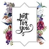 Flores bot?nicas florais do ramalhete Grupo da ilustra??o do fundo da aquarela Quadrado do ornamento da beira do quadro ilustração stock