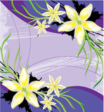 Flores brancas abstratas no fundo roxo Fotografia de Stock Royalty Free