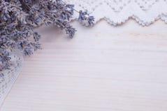 Flores brancas da alfazema vistas perto acima Fotos de Stock Royalty Free