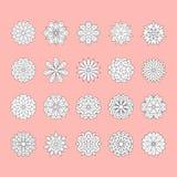 Flores brancas da garatuja ajustadas no fundo cor-de-rosa Elementos bonitos do design floral para o cartão de casamento Contexto  Imagens de Stock Royalty Free
