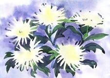 Flores brancas de pintura Fotografia de Stock Royalty Free